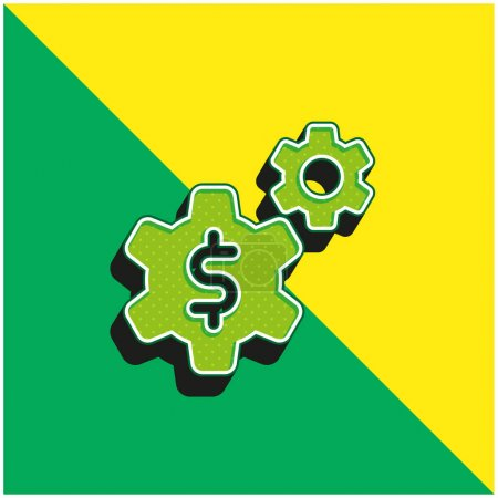 Illustration for Application Green and yellow modern 3d vector icon logo - Royalty Free Image