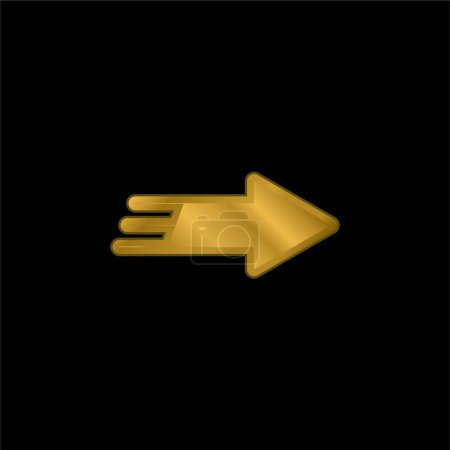 Photo pour Flèche droite plaqué or icône métallique ou logo vecteur - image libre de droit