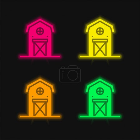 Illustration for Barn four color glowing neon vector icon - Royalty Free Image
