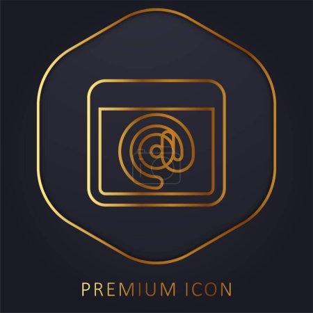 At Sign golden line premium logo or icon