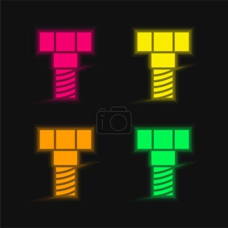 Illustration pour Boulon quatre couleur brillant icône vectorielle néon - image libre de droit