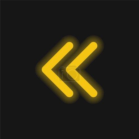 Illustration pour Flèches de contour mince à gauche jaune brillant icône néon - image libre de droit