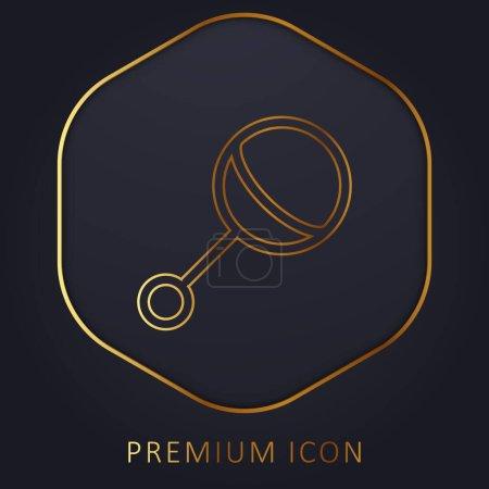 Hochet bébé ligne d'or logo premium ou icône
