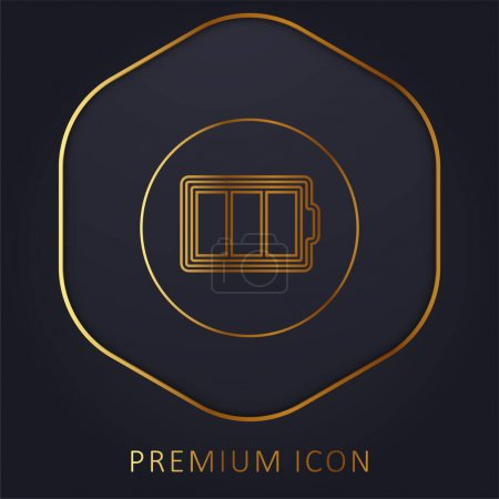 Battery Outline In A Circle golden line premium logo or icon