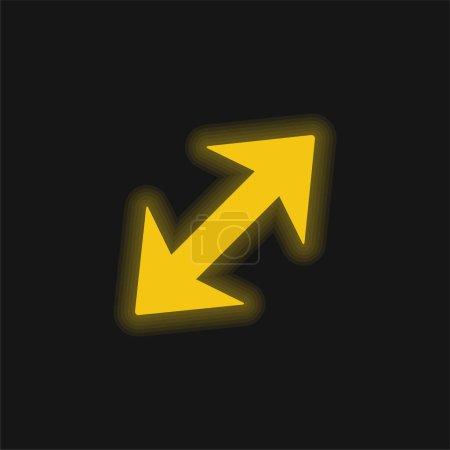Illustration pour Flèche diagonale avec deux points à directions opposées jaune brillant icône néon - image libre de droit