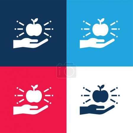 Photo for Apple blue and red four color minimal icon set - Royalty Free Image