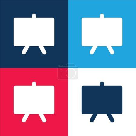 Illustration pour Tableau noir bleu et rouge quatre couleurs minimum jeu d'icônes - image libre de droit