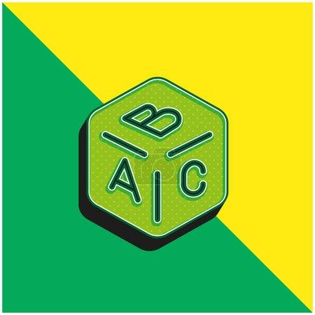 Illustration pour Bloc vert et jaune moderne icône vectorielle 3d logo - image libre de droit
