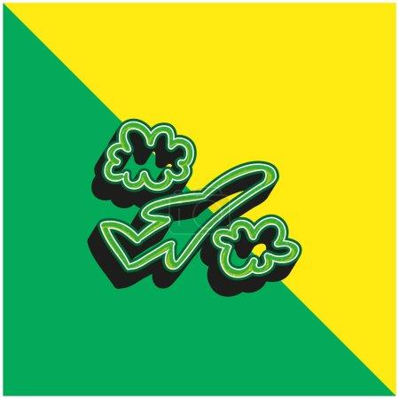 Illustration pour Avion dessiné à la main vol entre les nuages vert et jaune logo icône vectorielle 3d moderne - image libre de droit
