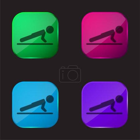 Illustration pour Garçon faisant Pushups icône bouton en verre quatre couleurs - image libre de droit