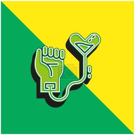Illustration pour Don de sang Logo vectoriel 3D moderne vert et jaune - image libre de droit