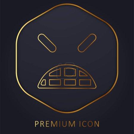 Illustration pour Angry Emoticon visage carré avec les yeux fermés ligne d'or logo premium ou icône - image libre de droit