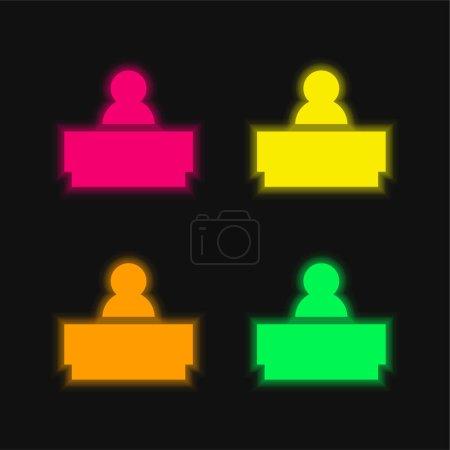 Photo pour Patron quatre couleur brillant icône vectorielle néon - image libre de droit