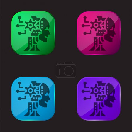 Illustration for AI four color glass button icon - Royalty Free Image