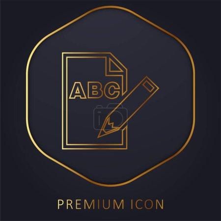 Illustration pour Lettres ABC sur feuille de papier avec un symbole d'interface crayon ligne d'or logo premium ou icône - image libre de droit