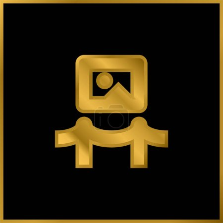 Illustration for Art Museum gold plated metalic icon or logo vector - Royalty Free Image