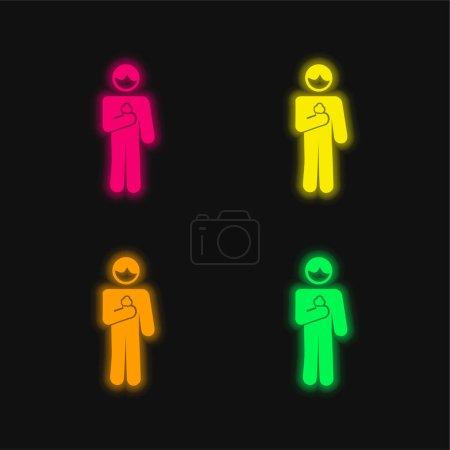 Illustration pour Garçon avec cône de crème glacée en quatre couleurs brillant icône vectorielle néon - image libre de droit