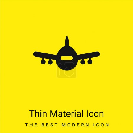 Avión Vista frontal mínimo icono de material amarillo brillante