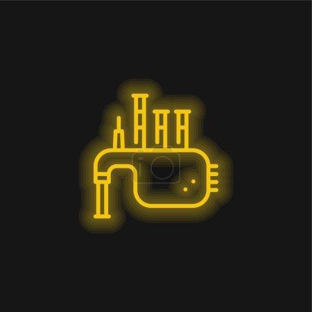 Illustration pour Icône néon jaune cornemuse - image libre de droit