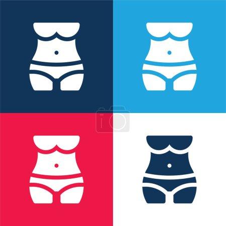 Illustration pour Corps bleu et rouge ensemble d'icônes minimes quatre couleurs - image libre de droit