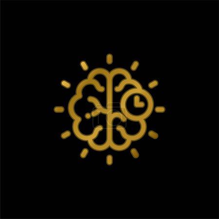 Photo pour Cerveau plaqué or icône métallique ou logo vecteur - image libre de droit