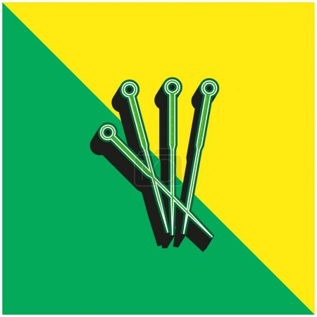 Acupuncture Needles Green and yellow modern 3d vector icon logo