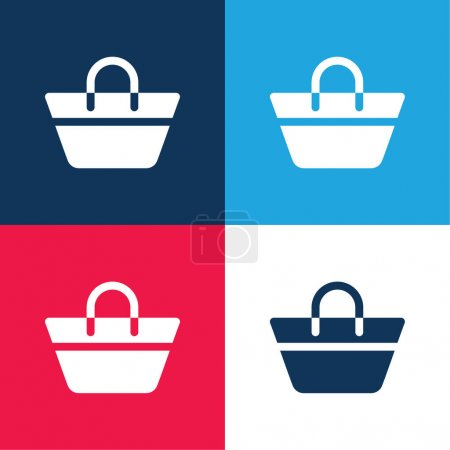 Beach Bag blue and red four color minimal icon set