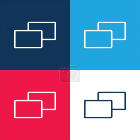 Photo pour 2 carrés bleu et rouge quatre couleurs minimum jeu d'icônes - image libre de droit
