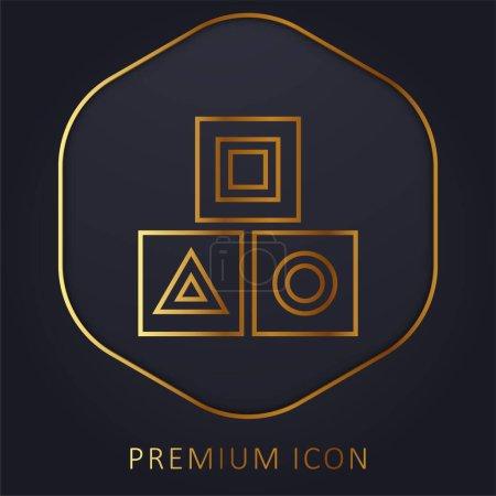 Illustration pour Bloquer la ligne d'or logo premium ou icône - image libre de droit
