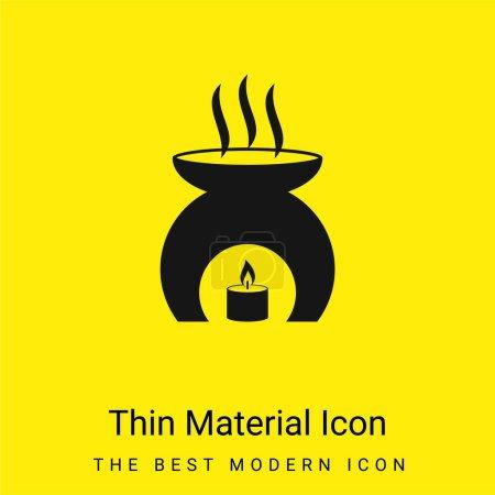 Photo pour Outil d'aromathérapie avec une huile de parfum de chauffage de bougie brûlante icône matérielle jaune vif minimale - image libre de droit