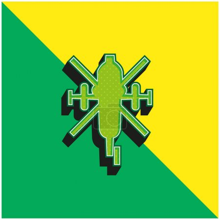 Illustration for Army Helicopter Bottom View Green and yellow modern 3d vector icon logo - Royalty Free Image