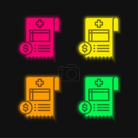 Illustration pour Bill quatre couleur brillant icône vectorielle néon - image libre de droit