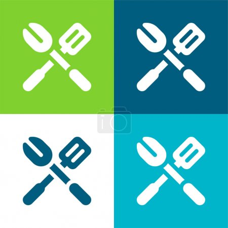 Illustration for Barbecue Flat four color minimal icon set - Royalty Free Image