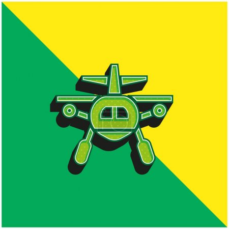 Illustration for Aircraft Green and yellow modern 3d vector icon logo - Royalty Free Image