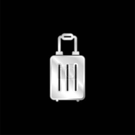 Illustration for Bag silver plated metallic icon - Royalty Free Image