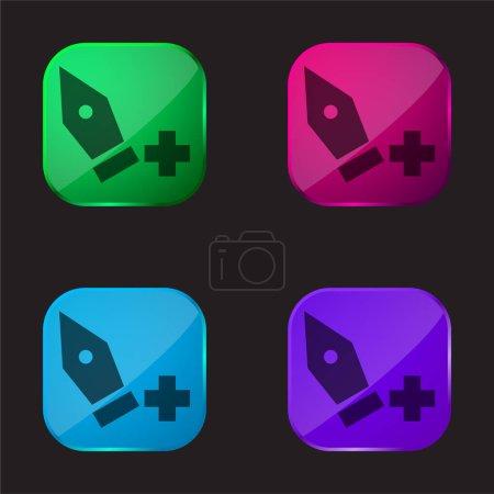 Illustration pour Ajouter Point icône de bouton en verre de quatre couleurs - image libre de droit
