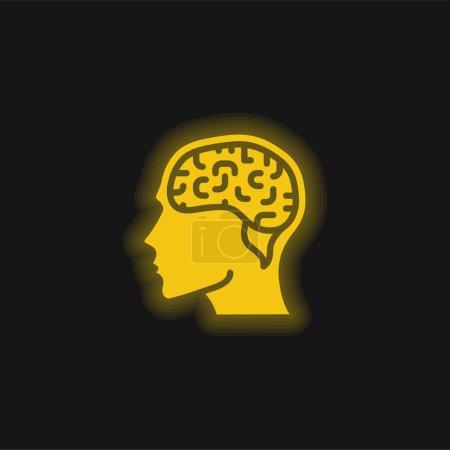 Brain yellow glowing neon icon
