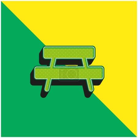 Illustration pour Banc Logo vectoriel 3d moderne vert et jaune - image libre de droit