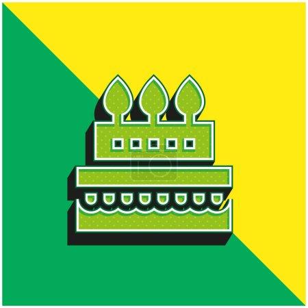 Illustration pour Gâteau d'anniversaire Logo vectoriel 3D moderne vert et jaune - image libre de droit
