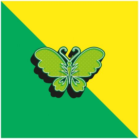 Black Butterfly Top View With Opened Wings Green and yellow modern 3d vector icon logo