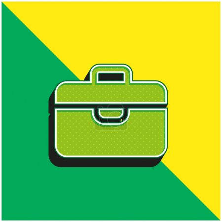 Illustration for Briefcase Green and yellow modern 3d vector icon logo - Royalty Free Image
