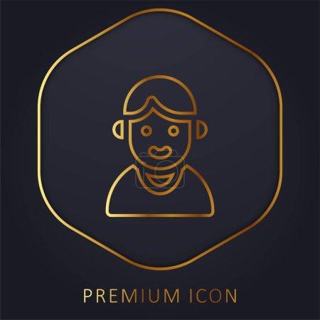 Illustration pour Garçon ligne d'or logo premium ou icône - image libre de droit