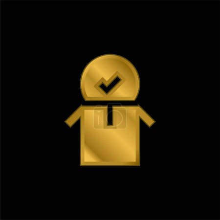Illustration for Approved gold plated metalic icon or logo vector - Royalty Free Image