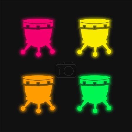 Illustration pour Tambour africain avec support quatre couleurs brillant icône vectorielle néon - image libre de droit