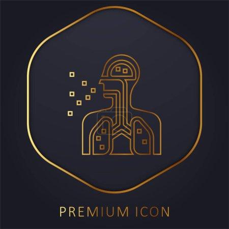 Illustration pour Respirez le logo ou l'icône premium Golden Line - image libre de droit