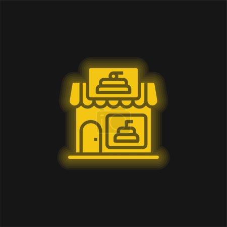 Photo pour Boulangerie jaune flamboyant icône néon - image libre de droit