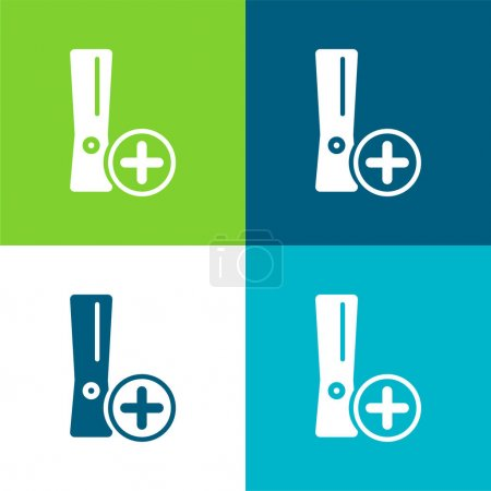 Add Game Console Symbol Flat four color minimal icon set