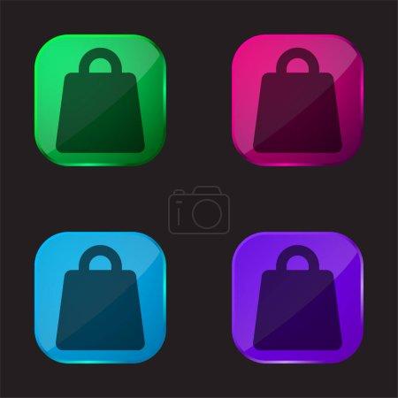 Illustration pour Big Bag icône de bouton en verre de quatre couleurs - image libre de droit
