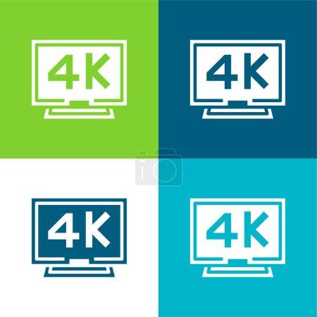 Illustration pour Ensemble d'icônes minimum 4k Flat quatre couleurs - image libre de droit