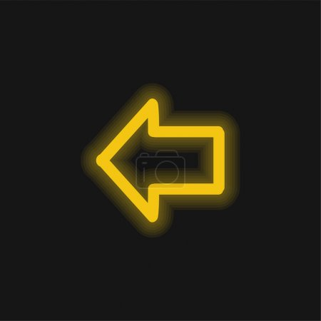 Arrow Pointing To Left Hand Drawn Outline yellow glowing neon icon